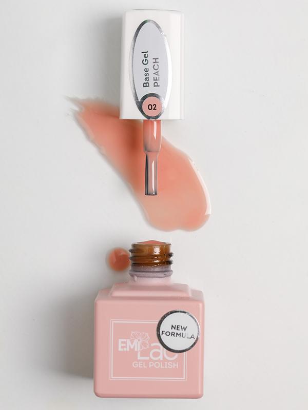 E.MiLac Base Gel Peach #02, 9 ml.