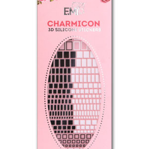 Charmicon 3D Silicone Stickers #40 Geometry, Black/White