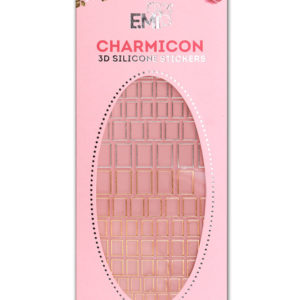 Charmicon 3D Silicone Stickers #53 Squares, Gold/Silver