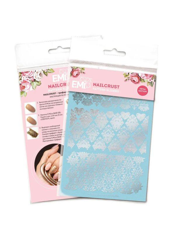 Nailcrust Pattern Sliders Silver #19