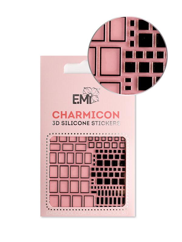 Charmicon 3D Silicone Stickers #160 Squares, Black