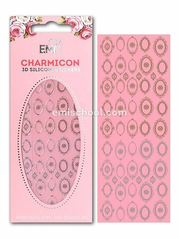 Charmicon 3D Silicone Stickers Frames, Gold/Silver