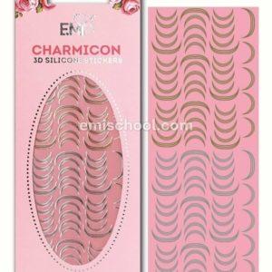 Charmicon 3D Silicone Stickers Lunula #11, Gold/Silver