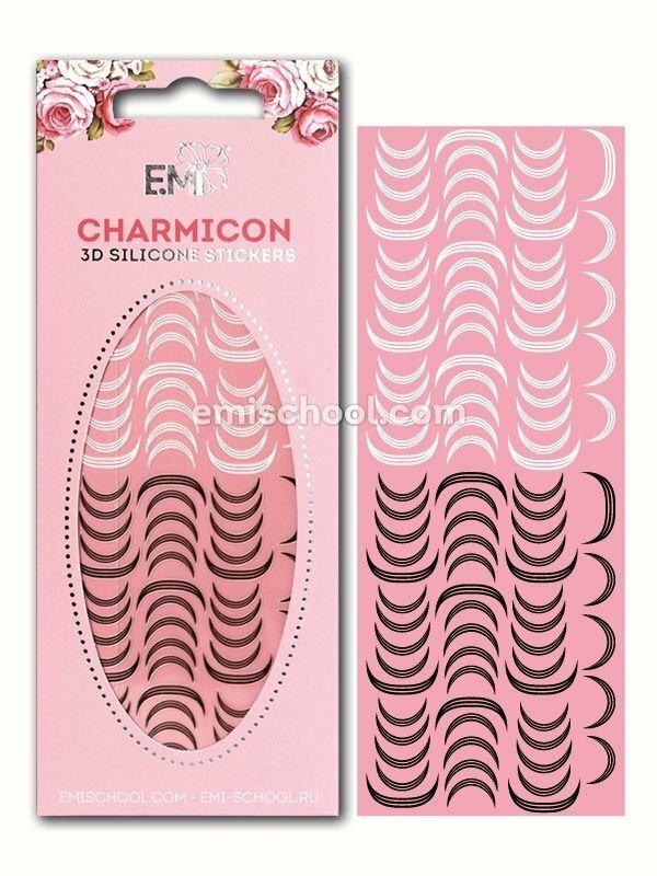 Charmicon 3D Silicone Stickers Lunula #12, Black/White