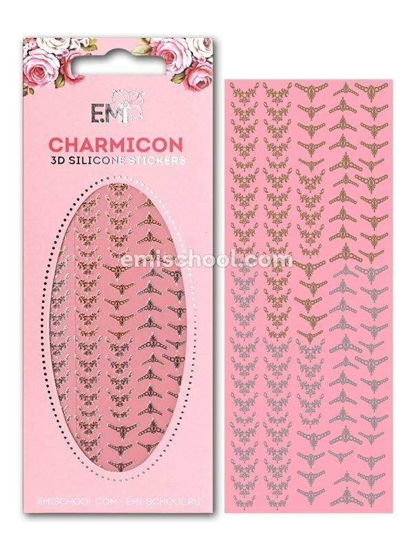 Charmicon 3D Silicone Stickers Lunula #17, Gold/Silver