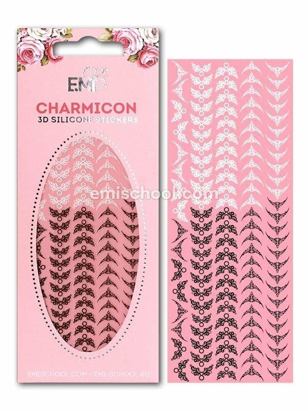 Charmicon 3D Silicone Stickers Lunula #20, Black/White