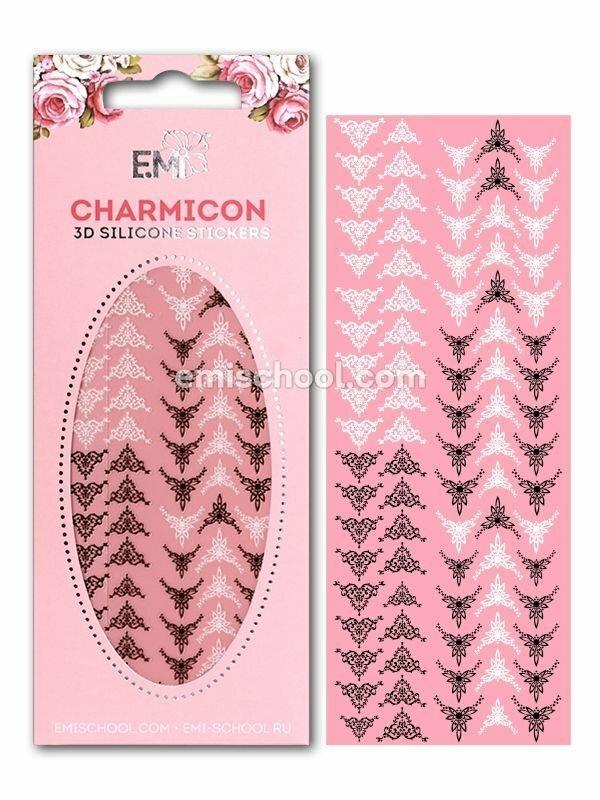 Charmicon 3D Silicone Stickers Lunula #22, Black/White