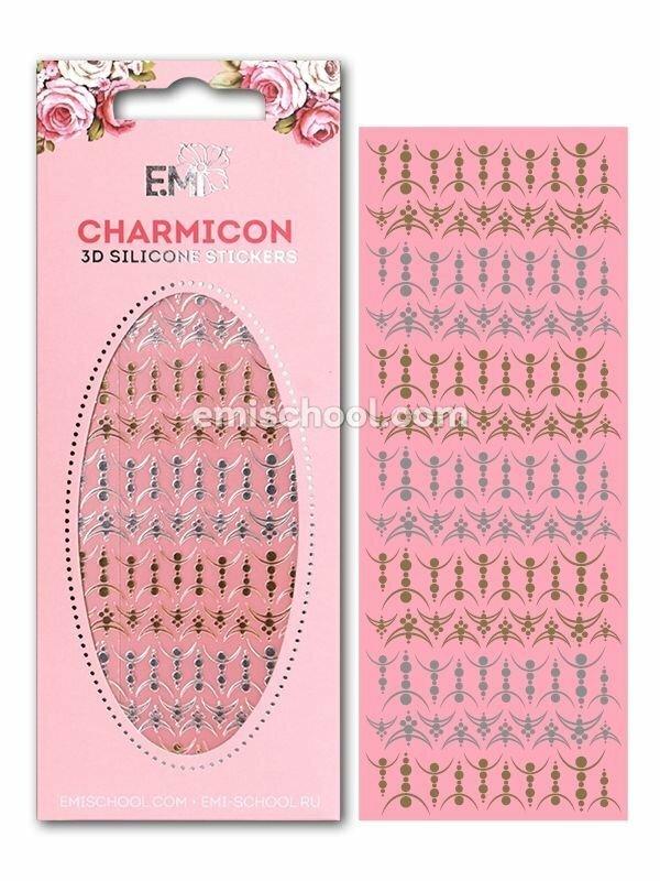 Charmicon 3D Silicone Stickers Lunula #27, Gold/Silver