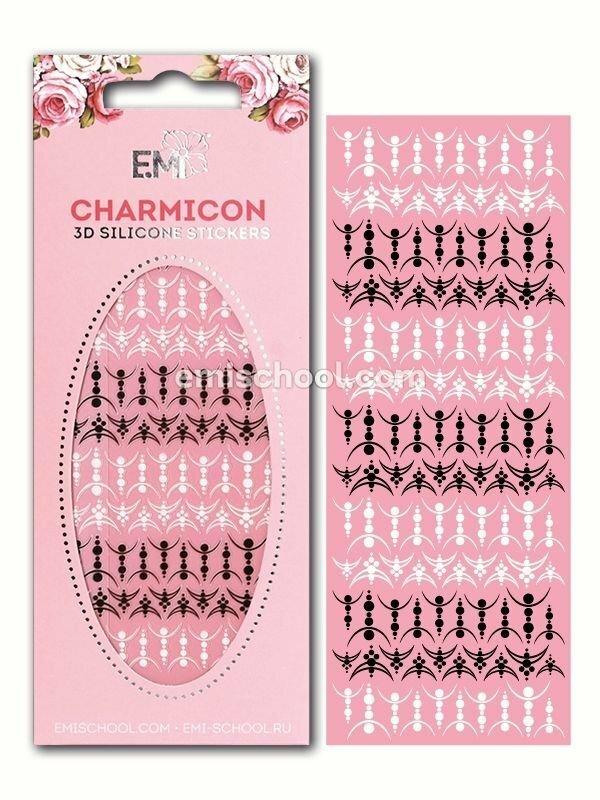 Charmicon 3D Silicone Stickers Lunula #28, Black/White