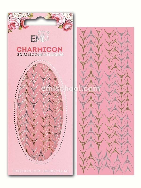 Charmicon 3D Silicone Stickers Lunula #29, Gold/Silver