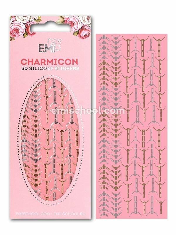 Charmicon 3D Silicone Stickers Lunula #31, Gold/Silver