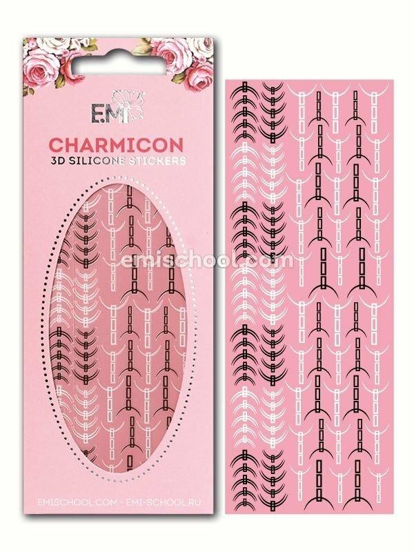 Charmicon 3D Silicone Stickers Lunula #32, Black/White