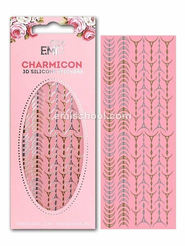 Charmicon 3D Silicone Stickers Lunula #33, Gold/Silver