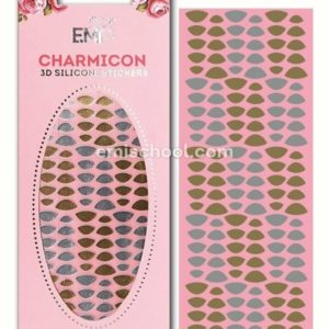 Charmicon 3D Silicone Stickers Lunula #7, Gold/Silver