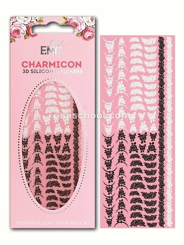 Charmicon 3D Silicone Stickers Lunula Mix #24, Black/White
