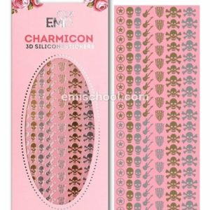 Charmicon 3D Silicone Stickers Rock Mix, Gold/Silver