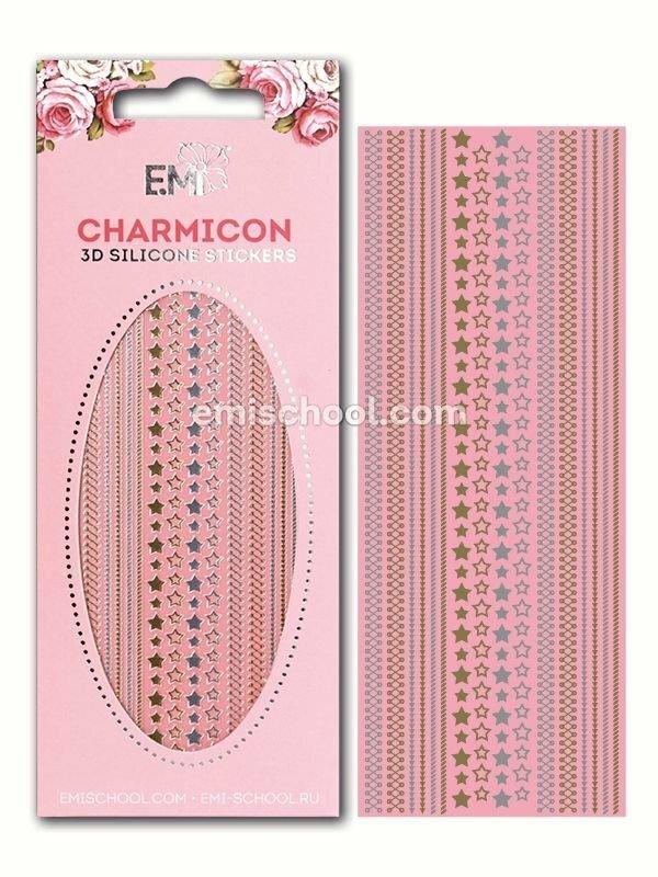 Charmicon 3D Silicone Stickers Stars Mix #1, Gold/Silver