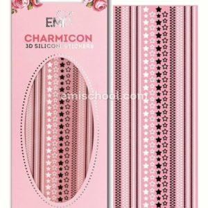 Charmicon 3D Silicone Stickers Stars Mix #2, Black/White