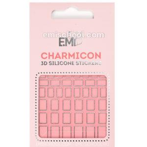 Charmicon 3D Silicone Stickers #112 Squares, Silver