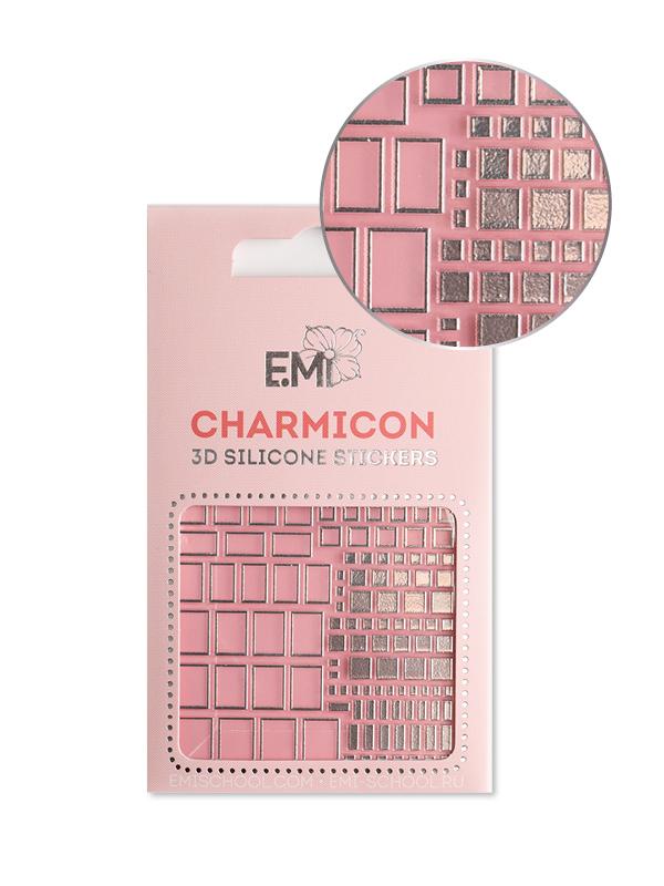 Charmicon 3D Silicone Stickers #159 Squares, Silver