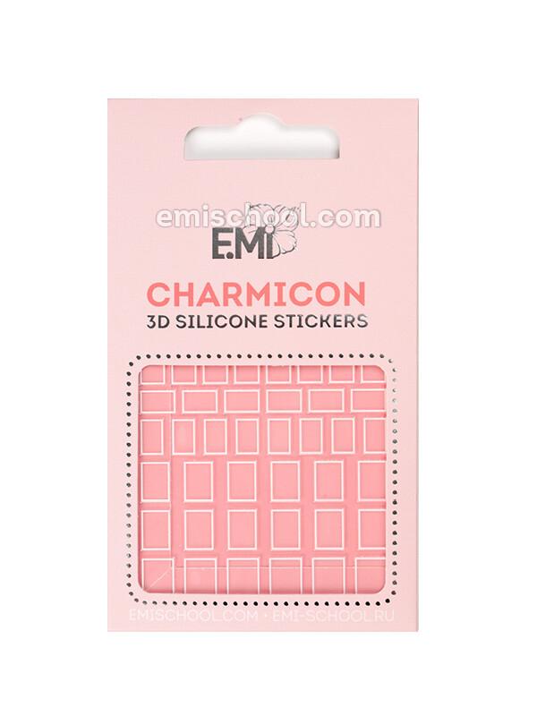 Charmicon 3D Silicone Stickers #114 Squares, White