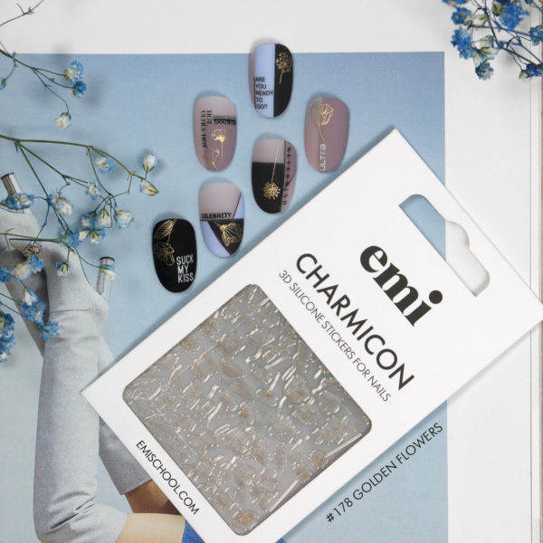 Charmicon 3D Silicone Stickers #178 Golden Flowers