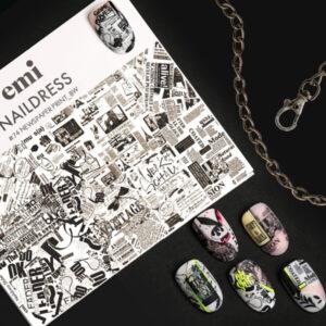 Naildress Slider Design #74 Newspaper Print, Black/White